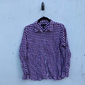 J. Crew Red Gingham Button Down Boy Fit Shirt